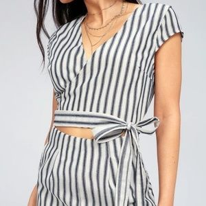 8db684975c5 Lulu s Pants - NWT Lulus Jetset To Go Striped Culotte Jumpsuit